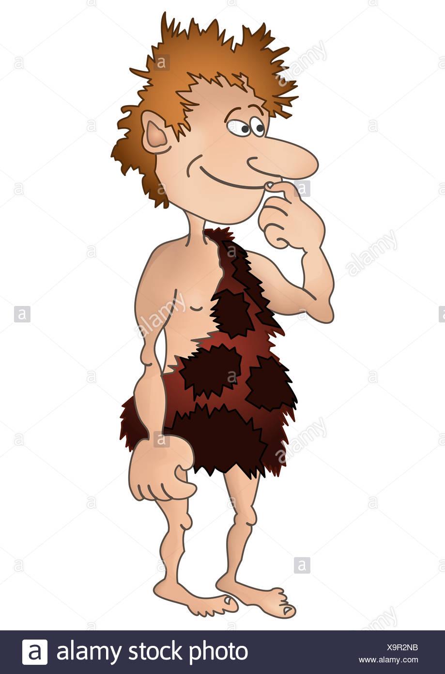 Prehistoric boy, isolated - Stock Image