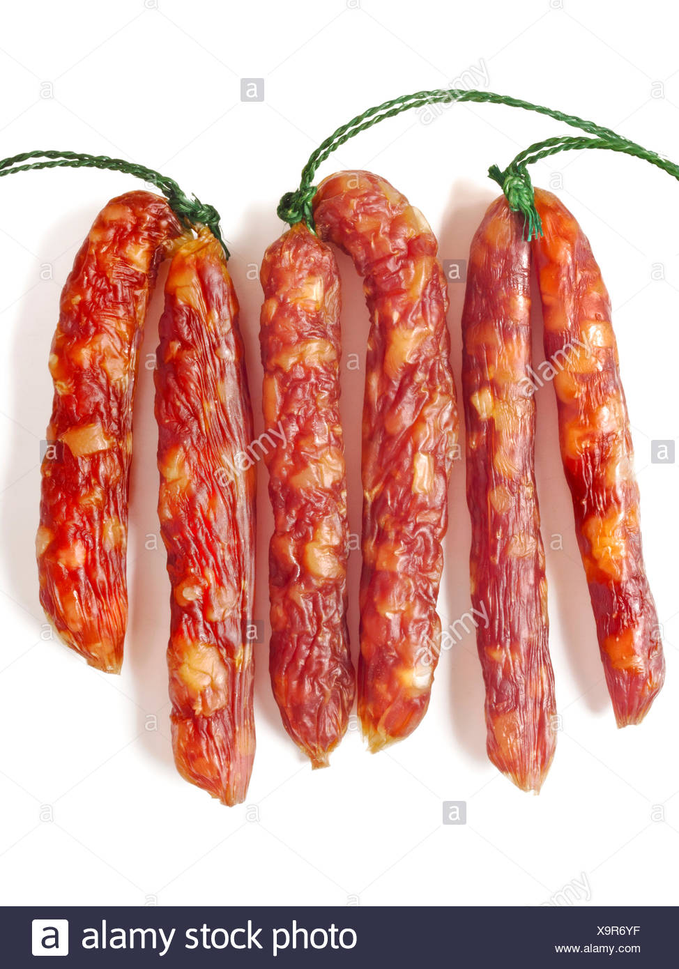 fatty chinese pork sausages - Stock Image