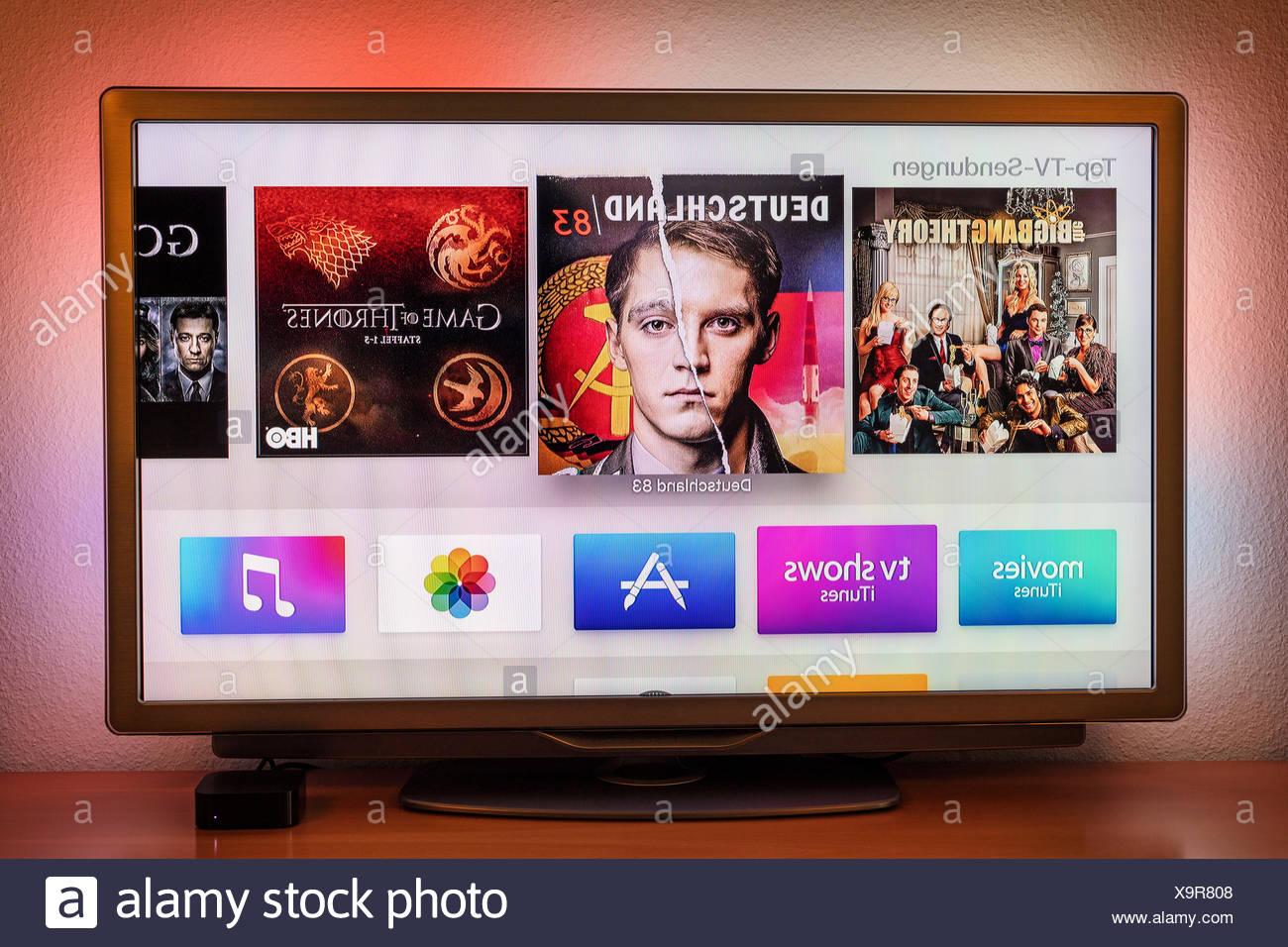 Apple TV on 4th generation LCD TVs, TV program, top TV shows - Stock Image