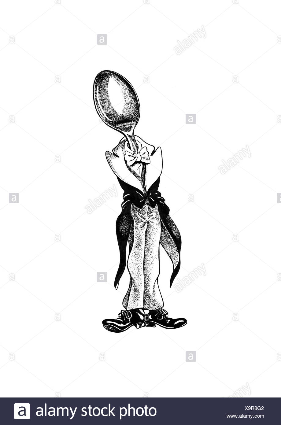 Tablespoon in tailcoat with bowtie - Stock Image