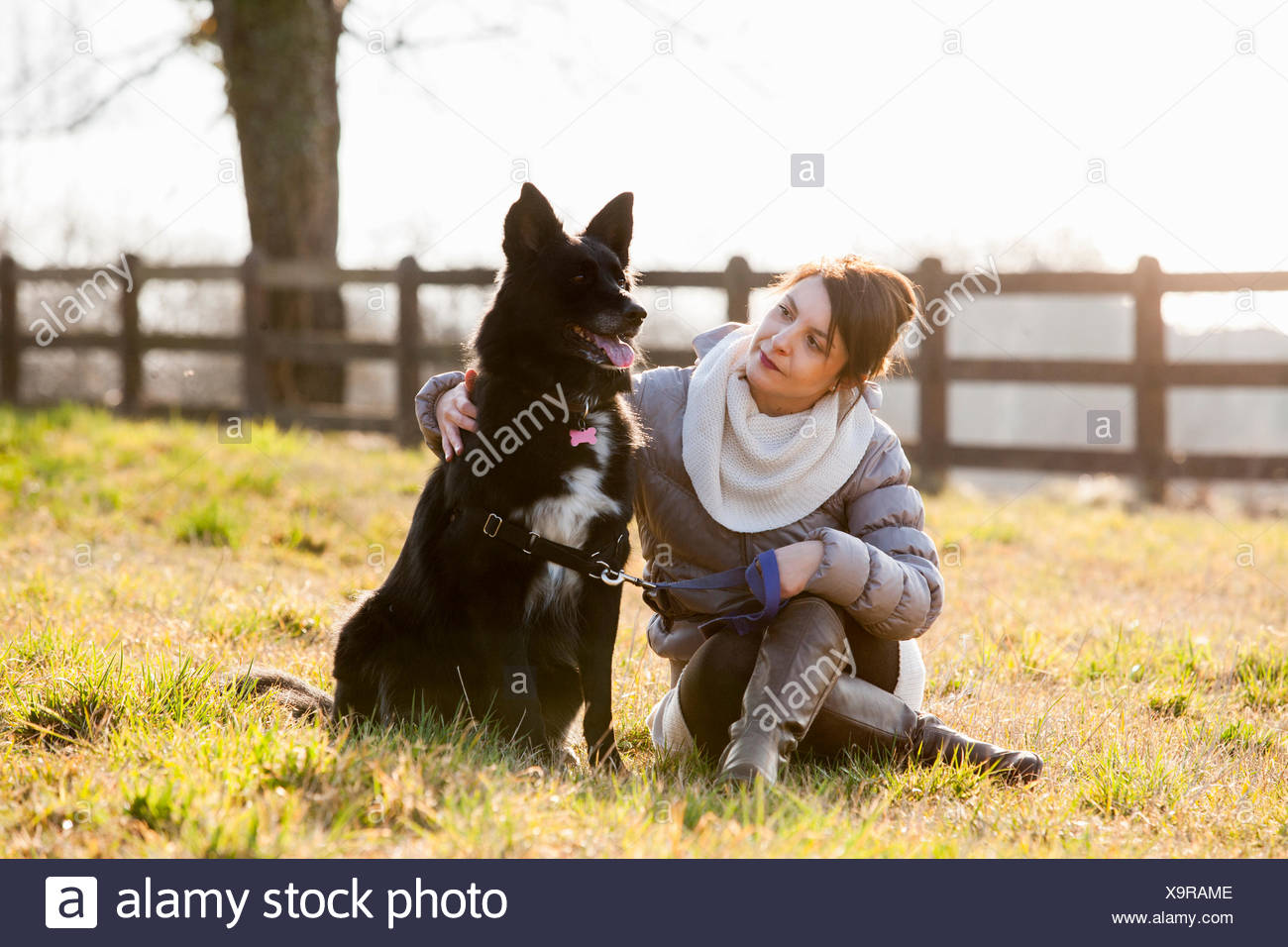 Mid adult woman sitting with her dog in field - Stock Image