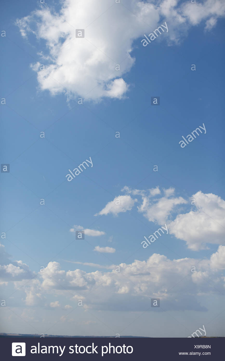 blue sky and clouds. nature, idyllic, fresh air, vapour. - Stock Image