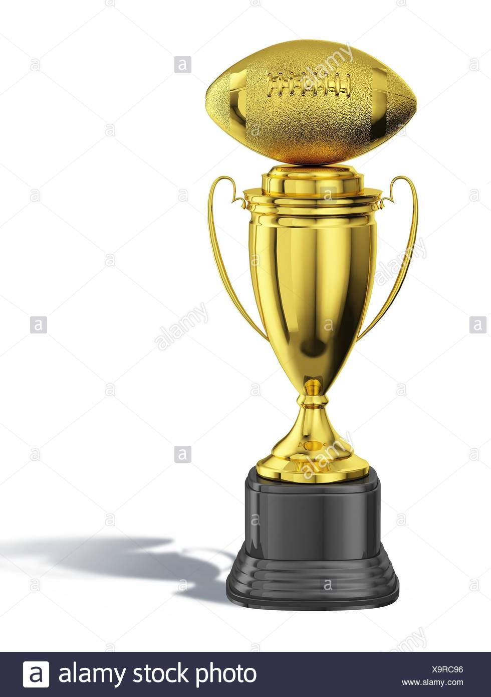 Trophy Cup With An American Football Ball At The Top All In Gold With Black Basement
