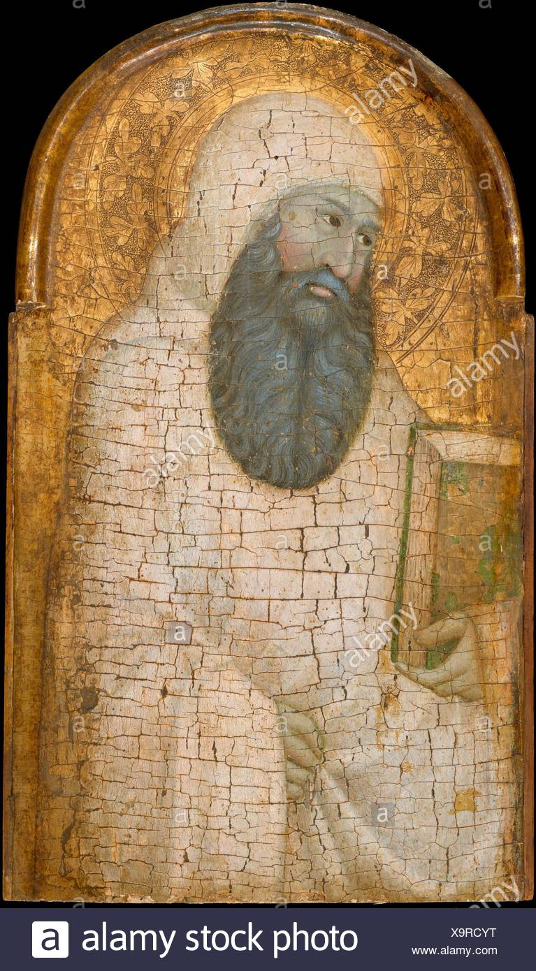 Saint Romuald. Artist: Guido Palmeruccio (Guiduccio Palmerucci) (Italian, Gubbio, active 1315-49); Date: possibly 1320s; Medium: Tempera on wood, - Stock Image