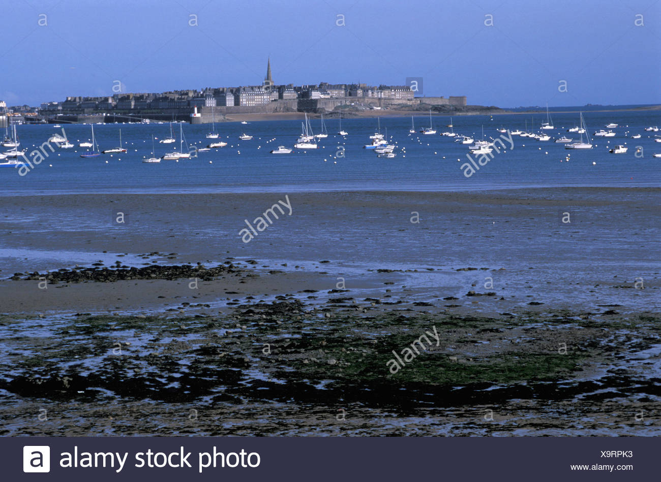 View, St. Malo, low tide, Brittany, Bretagne, France, Europe, boats - Stock Image