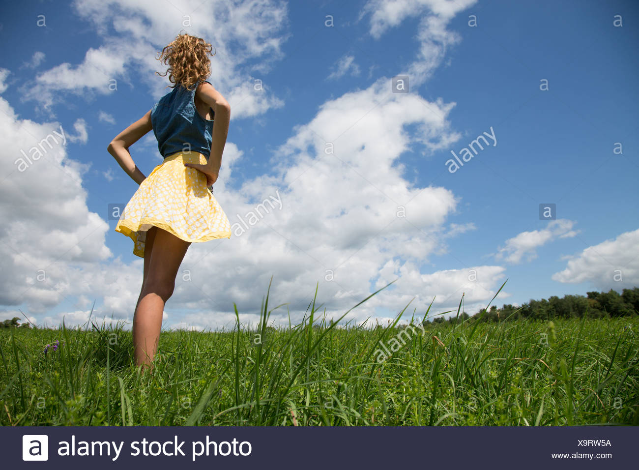 Teenage girl standing with hands on hips in field - Stock Image