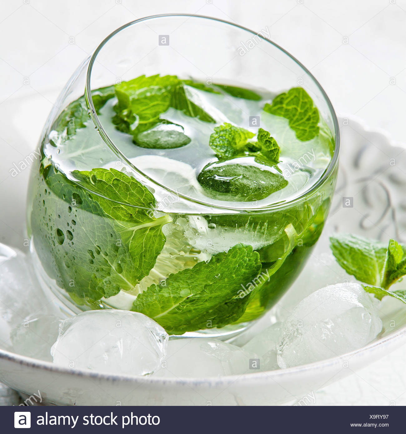 Fresh mint drink with ice - Stock Image