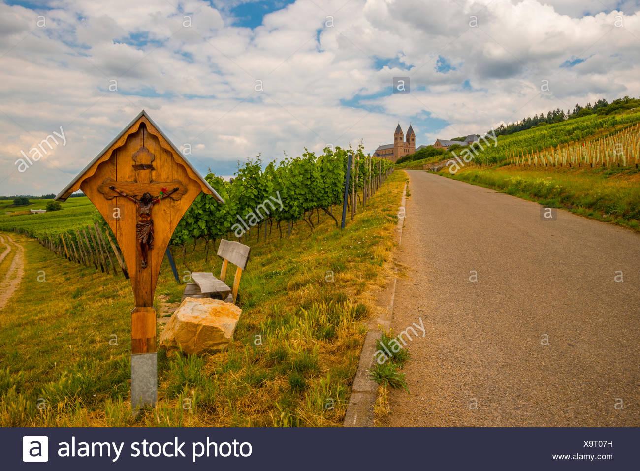 Abbey, Benedictine, Bingen, diocese, bishopric, Germany, Eibingen, Europe, Hessen, Hildegard, Limburg, Rüdesheim Stock Photo