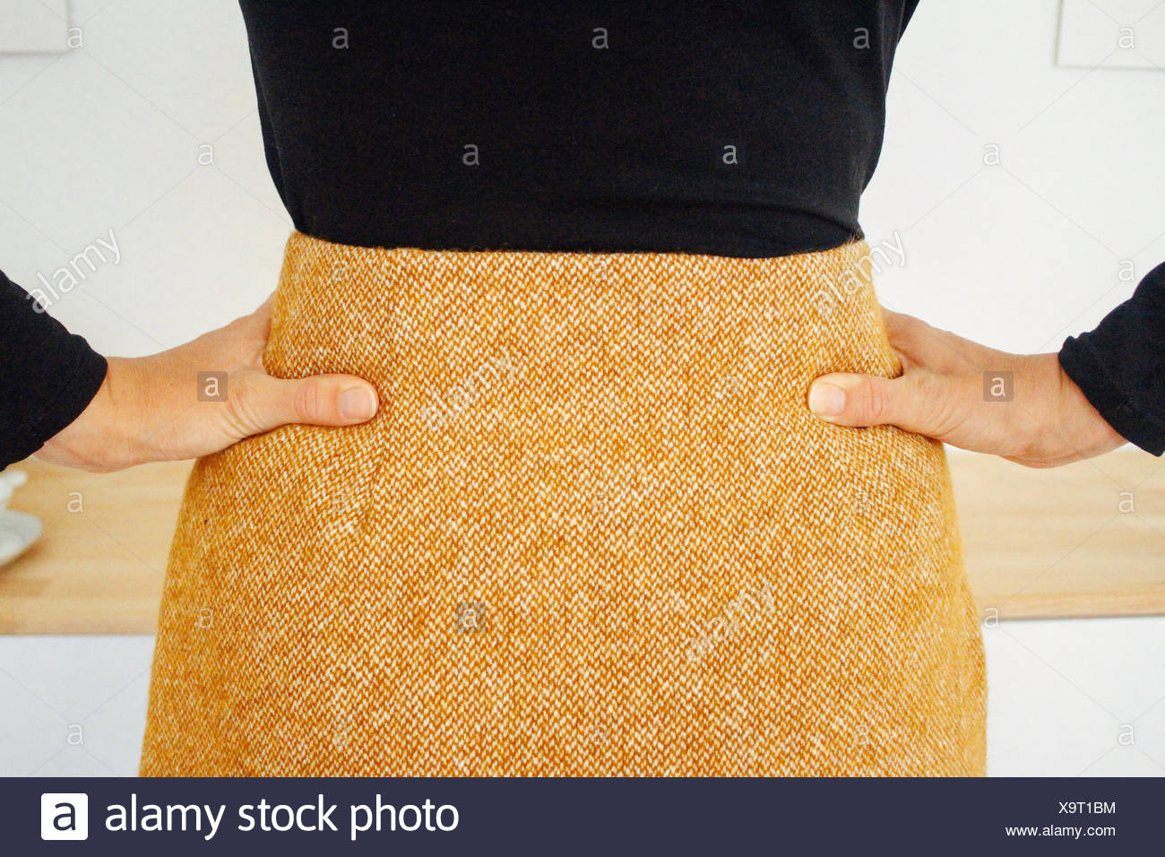 Rear View Of Woman With Hands On Hip - Stock Image