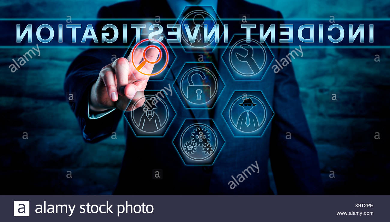 Cyber Specialist Pushing INCIDENT INVESTIGATION - Stock Image