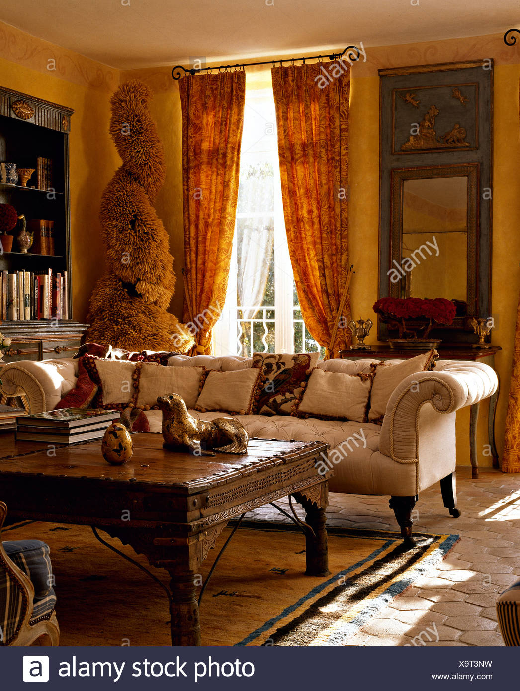 Amazing White Chesterfield Sofa And Indonesian Style Wooden Coffee Ncnpc Chair Design For Home Ncnpcorg