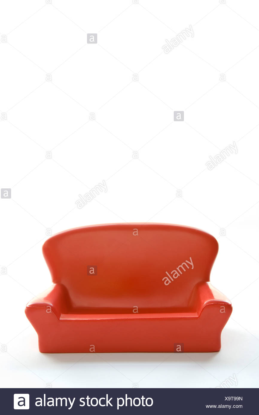 Red Sofa On White Background - Stock Image