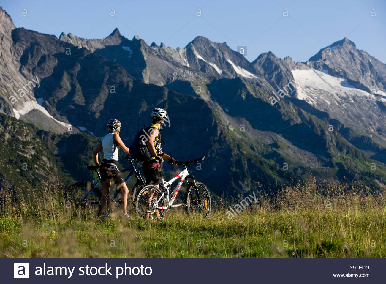 Mountain bikers having a break, Zillertal Alps, Mayerhofen, North Tyrol, Austria, Europe - Stock Image
