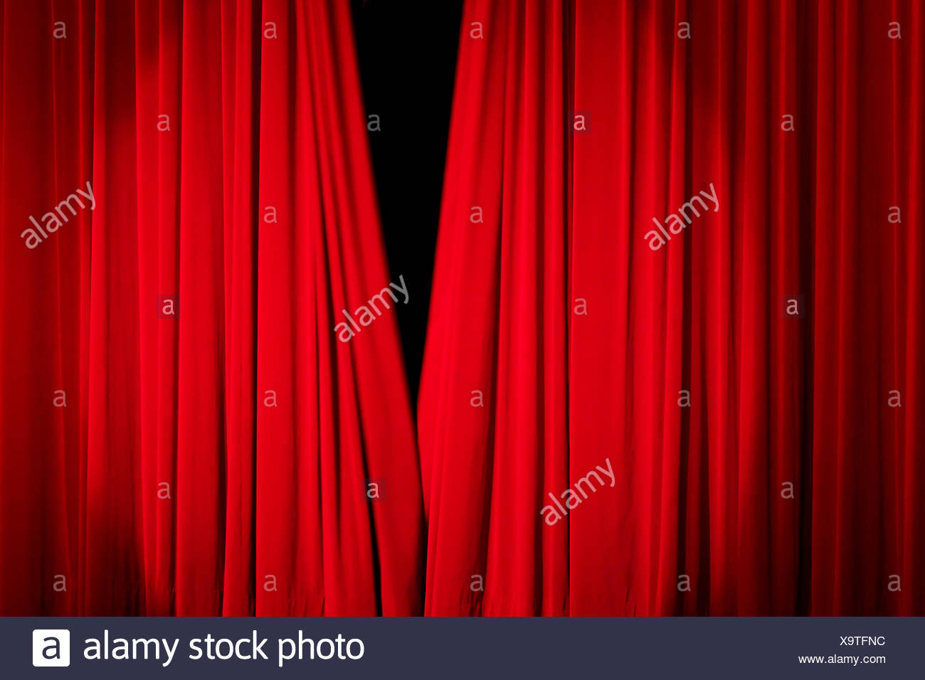 red curtain - Stock Image