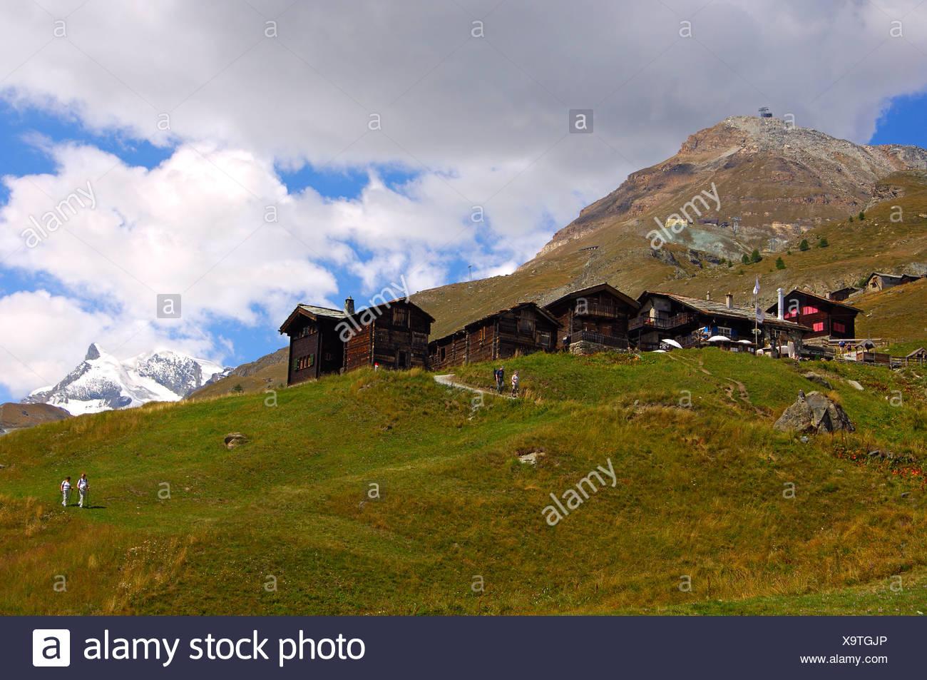 Hamlet Findeln near Zermatt, peak Adlerhorn, Zermatt, Valais, Switzerland - Stock Image