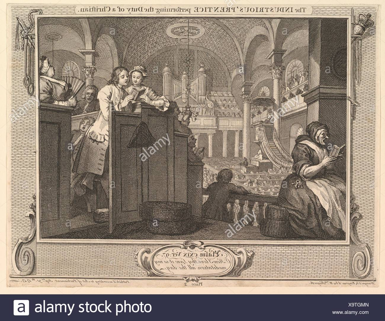 The Industrious 'Prentice Performing the Duty of a Christian: IIndustry and Idleness, plate 2. Artist: William Hogarth (British, London 1697-1764 - Stock Image