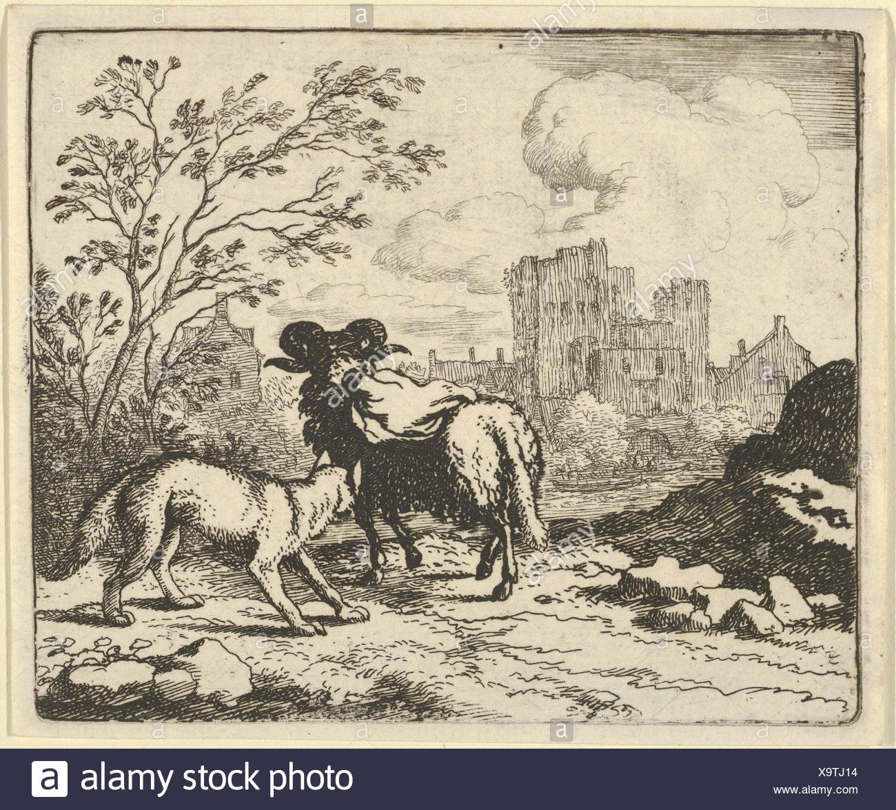 Renard Sends the Ram Back to the Lion with a Package Containing the Rabbit's Head from Hendrick van Alcmar's Renard The Fox. Artist: Allart van - Stock Image