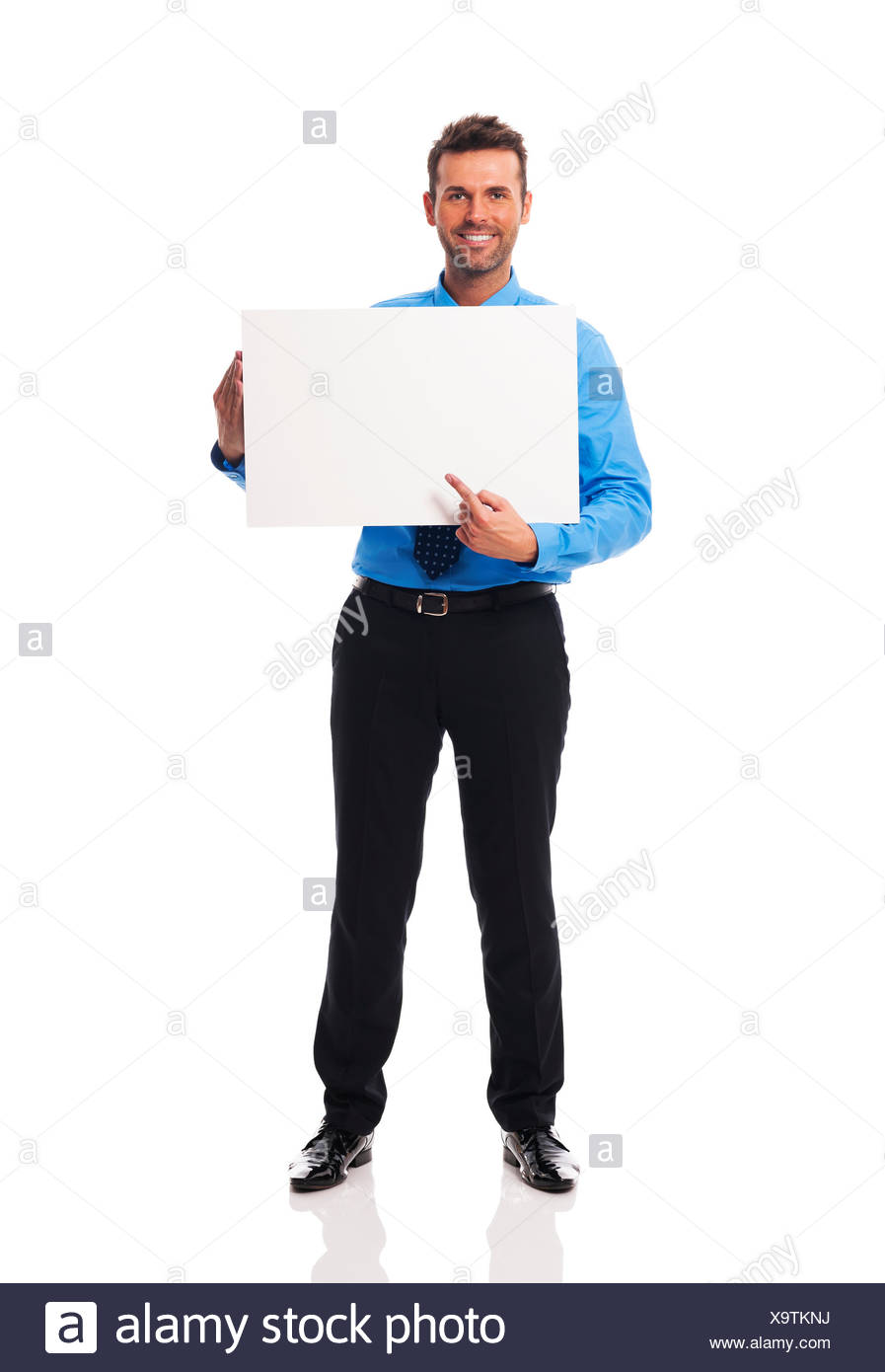 Businessman showing very interesting point of view Debica, Poland - Stock Image