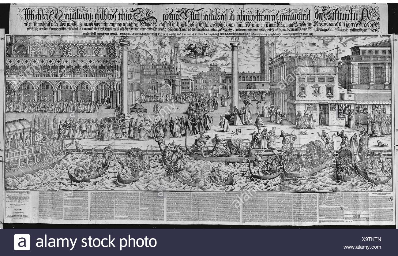 Procession of the Doge to the Bucintoro on Ascension Day, with a View of Venice, ca. 1565. Artist: Jost Amman (Swiss, Zurich before 1539-1591 - Stock Image