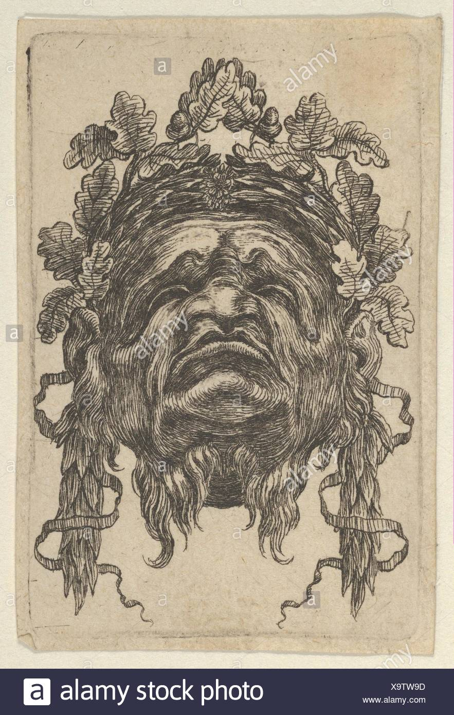 Mask with a Wreath of Laurels and a Wreath of Oak Leaves, Seen from Below, from Divers Masques. Series/Portfolio: Divers Masques; Artist: François - Stock Image