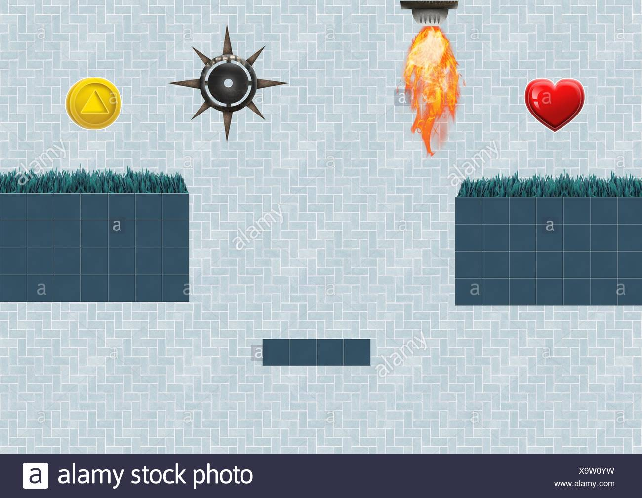 Computer Game Level with collectibles and traps - Stock Image