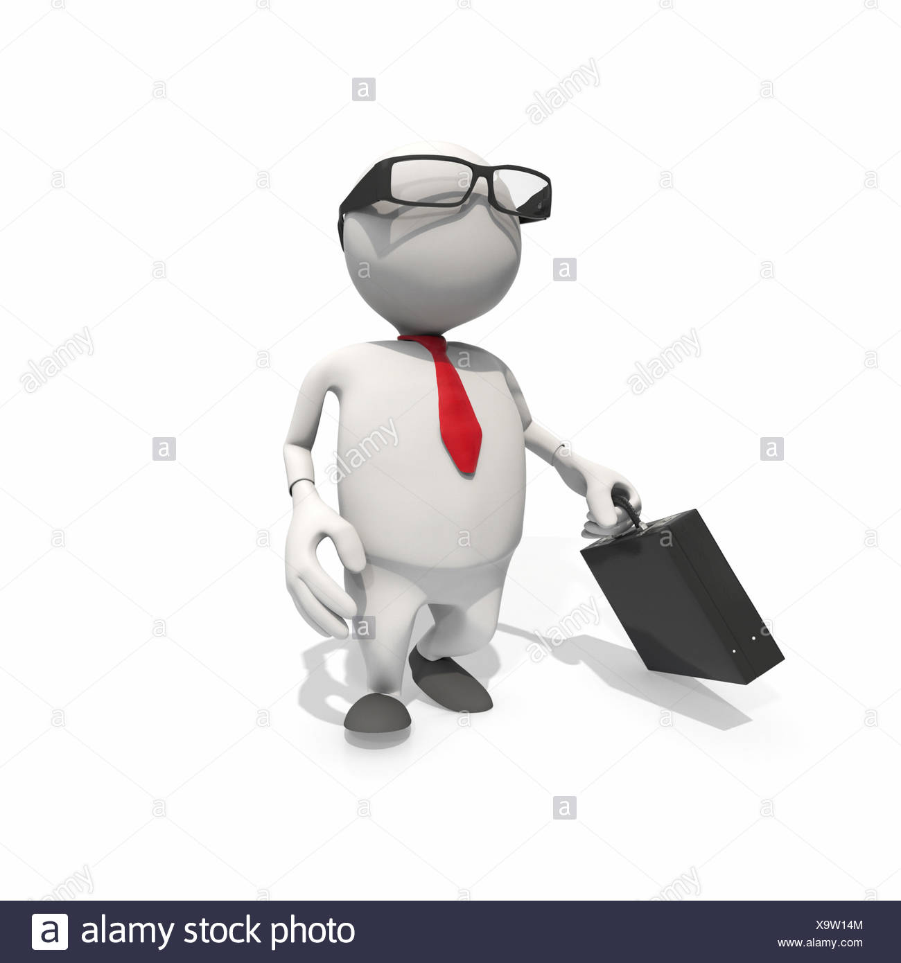 Anthropomorphic businessman walking, CGI - Stock Image