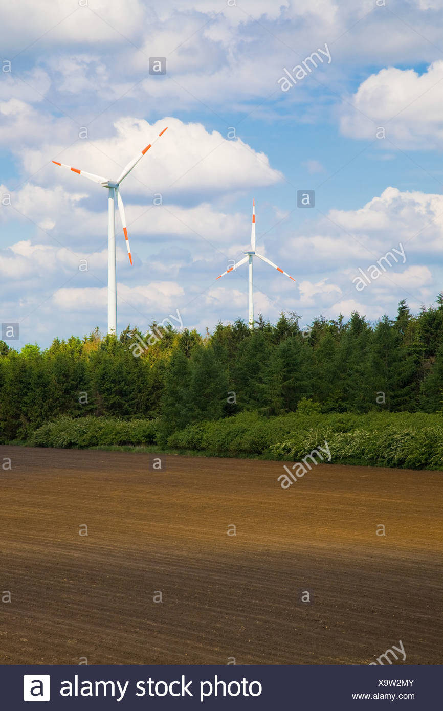 Wind turbines and field - Stock Image