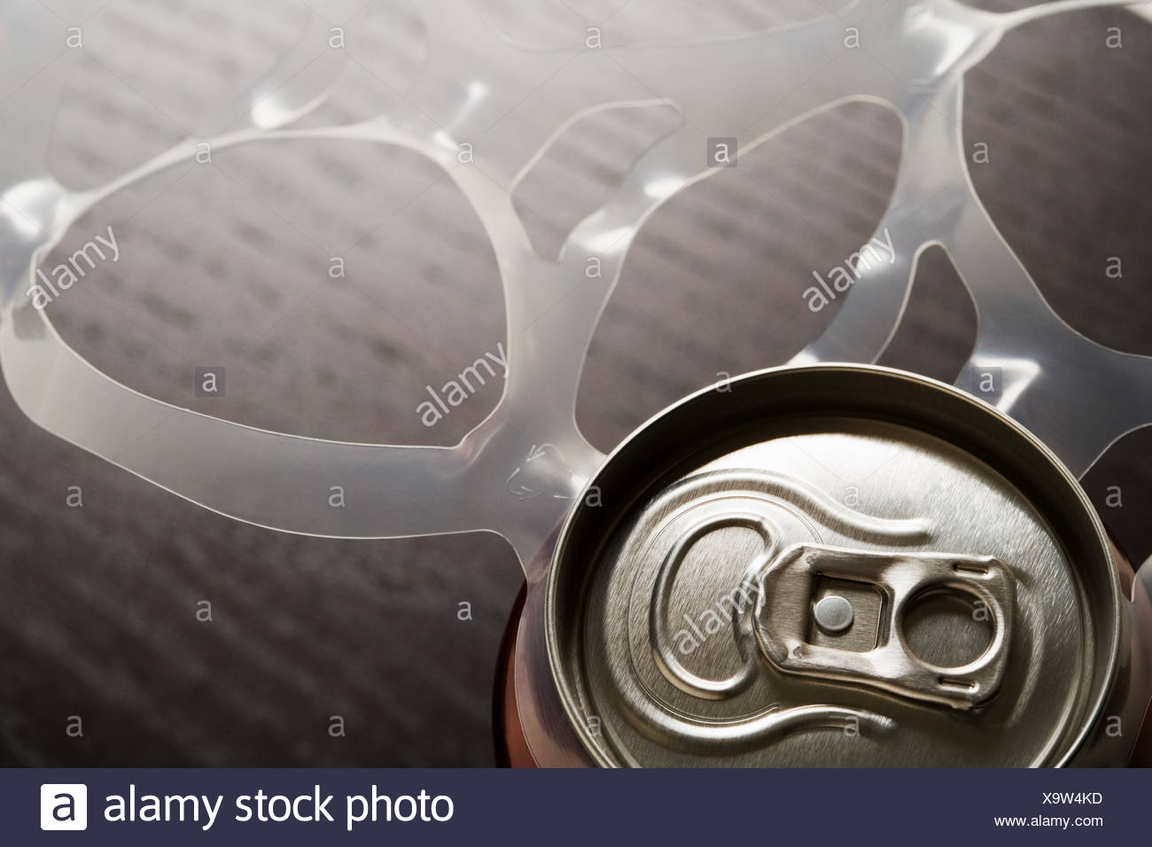 Drink can and plastic ring - Stock Image
