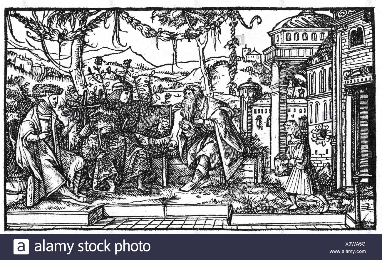 More, Thomas, 7.2.1478 - 6.7.1535, English philosopher and politician, work 'Utopia', illustration, woodcut by Ambrosius Holbein, 1518, Additional-Rights-Clearances-NA - Stock Image