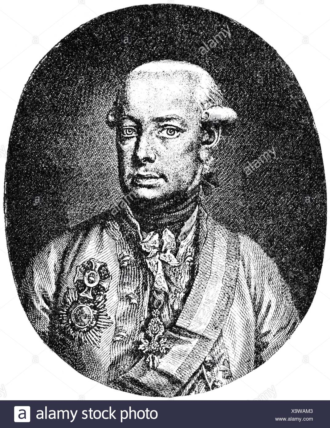 Leopold II, 5.5.1747 - 1.3.1792, Holy Roman Emperor 30.9.1790 - 1.3.1792, copper engraving by Jakob Adam, 1790, after painting Kreutzinger, Artist's Copyright has not to be cleared Stock Photo