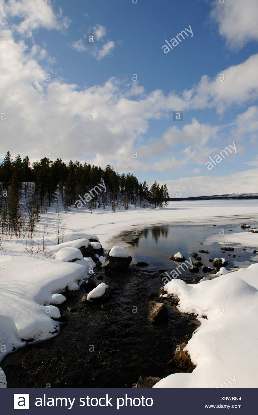 Lake Inari near Partakko, Lapland, Finland, Europe - Stock Image