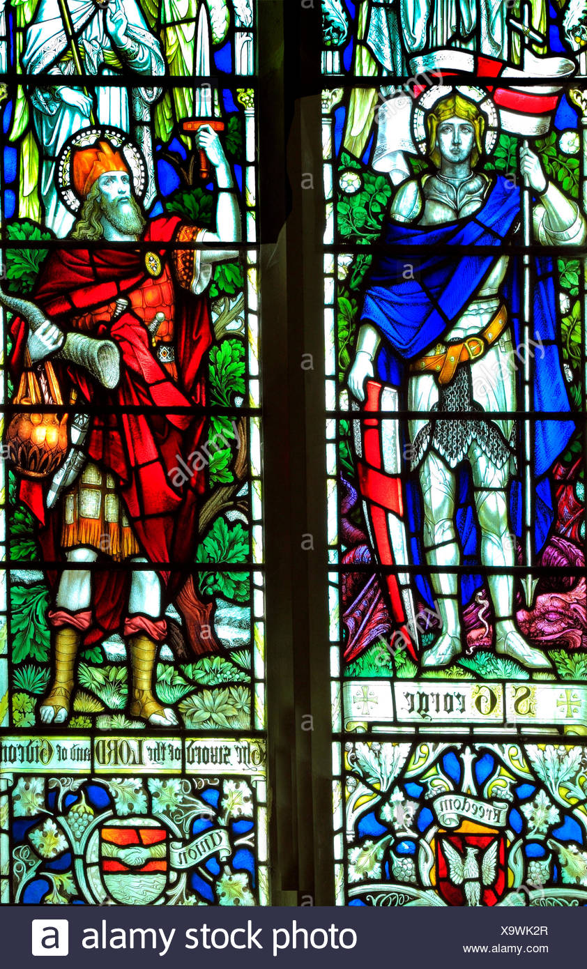 St. George, Gideon, stained glass window, All Saints Church, Warham, Norfolk, England, UK, English School, early 20th century - Stock Image