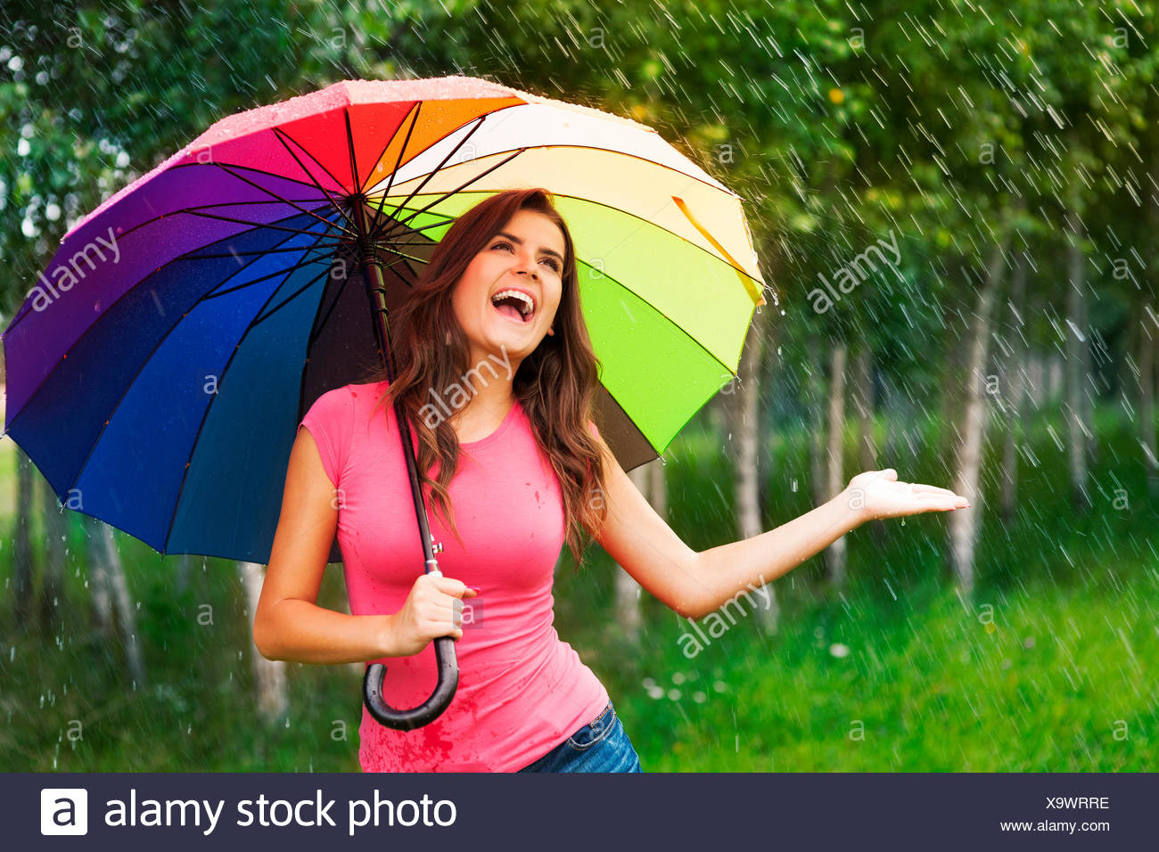 I'm so happy! finally raining! Debica, Poland - Stock Image