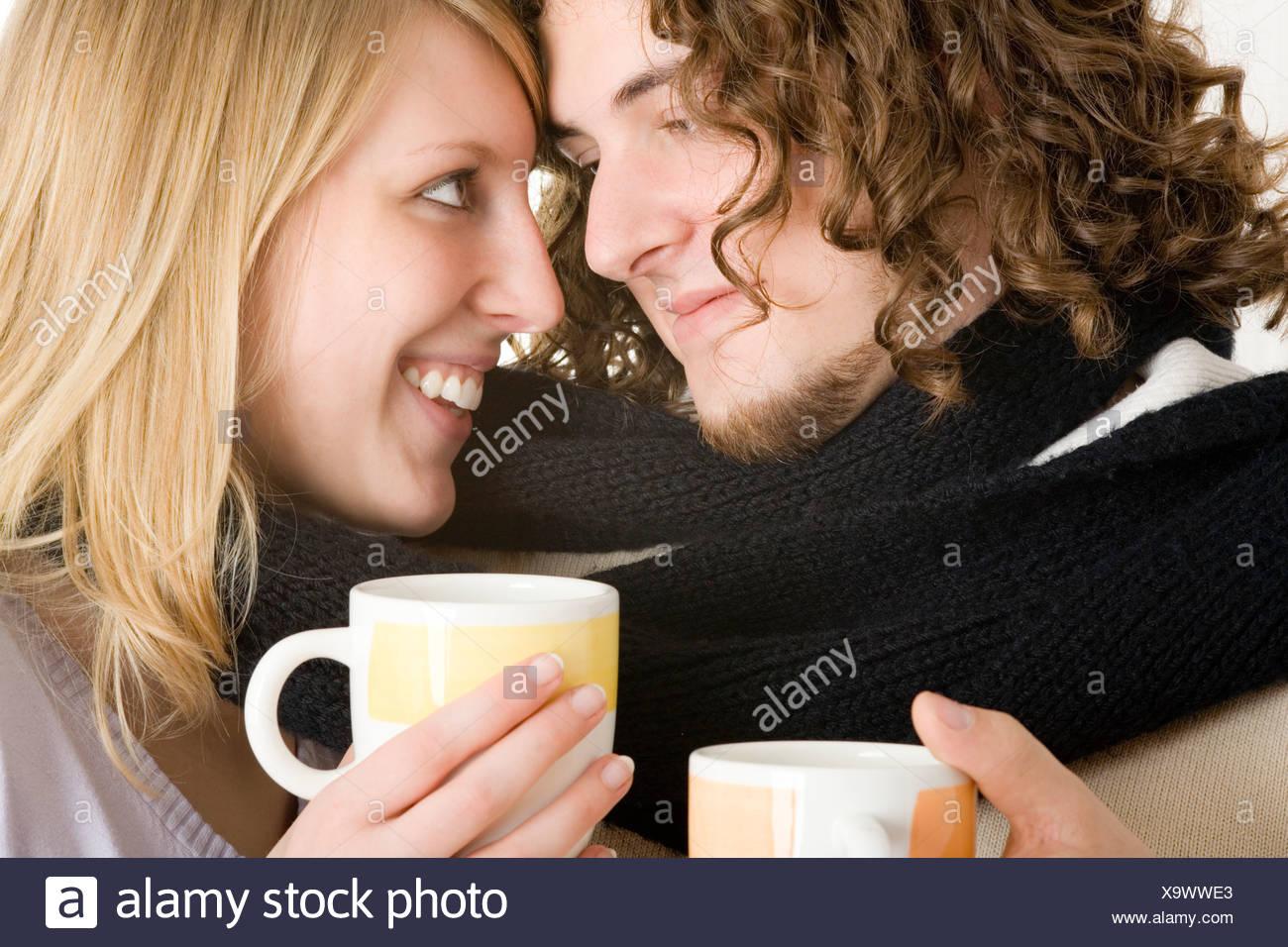 young couple pair love harmonical partnership man woman - Stock Image