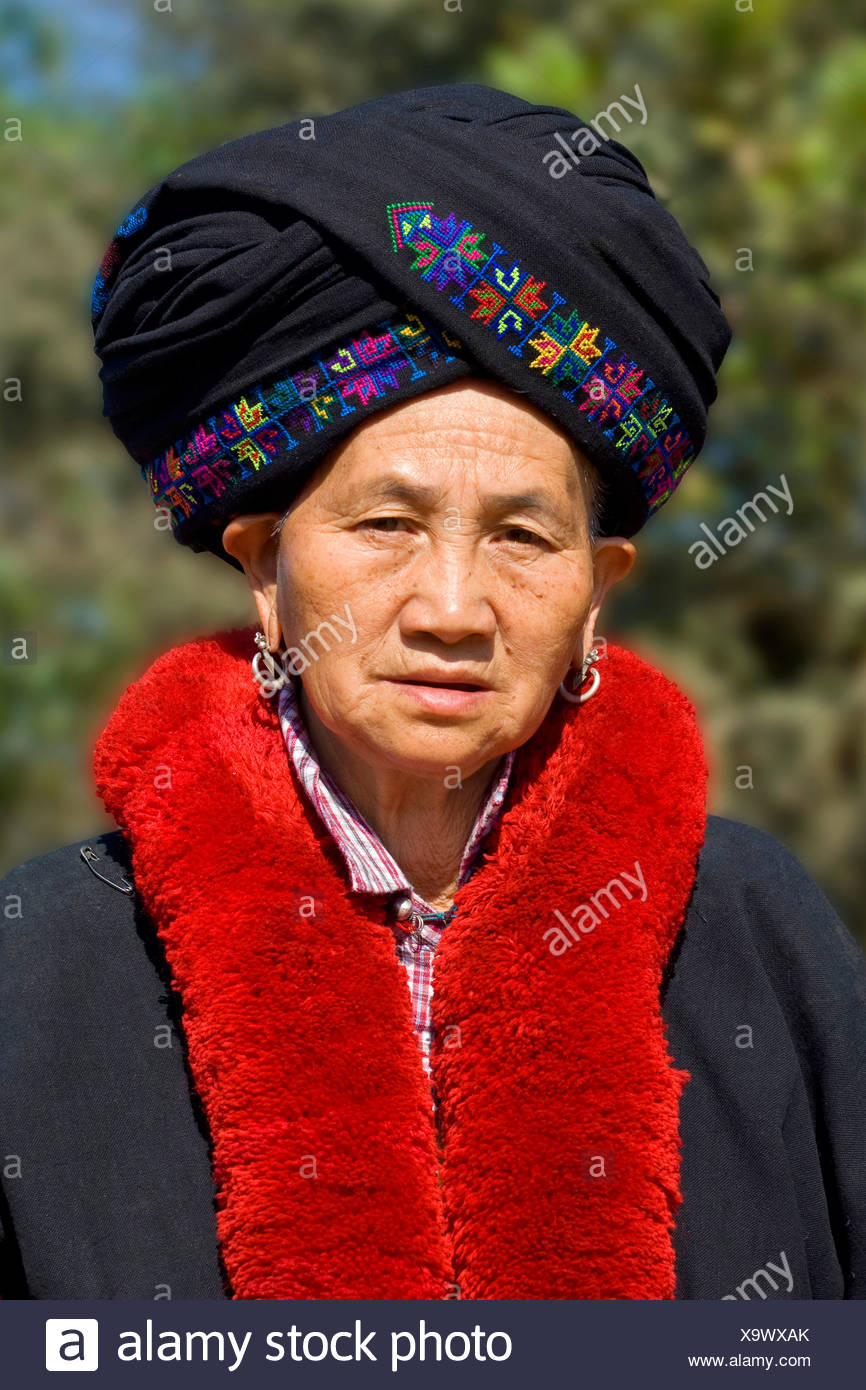 old woman wearing traditional clothing, Laos Stock Photo