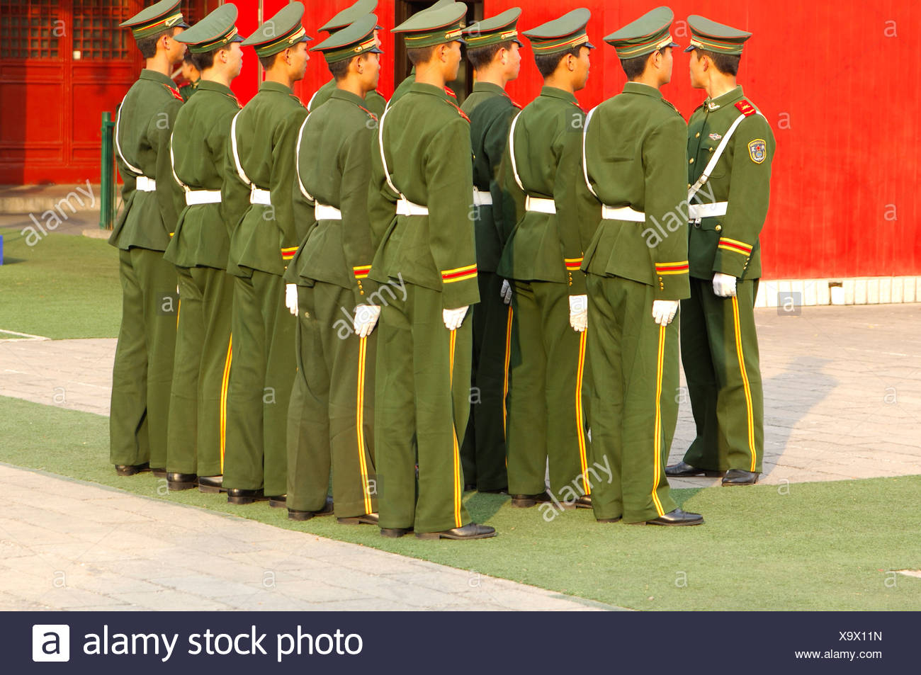 Platoon of the People's Liberation Army China - Stock Image