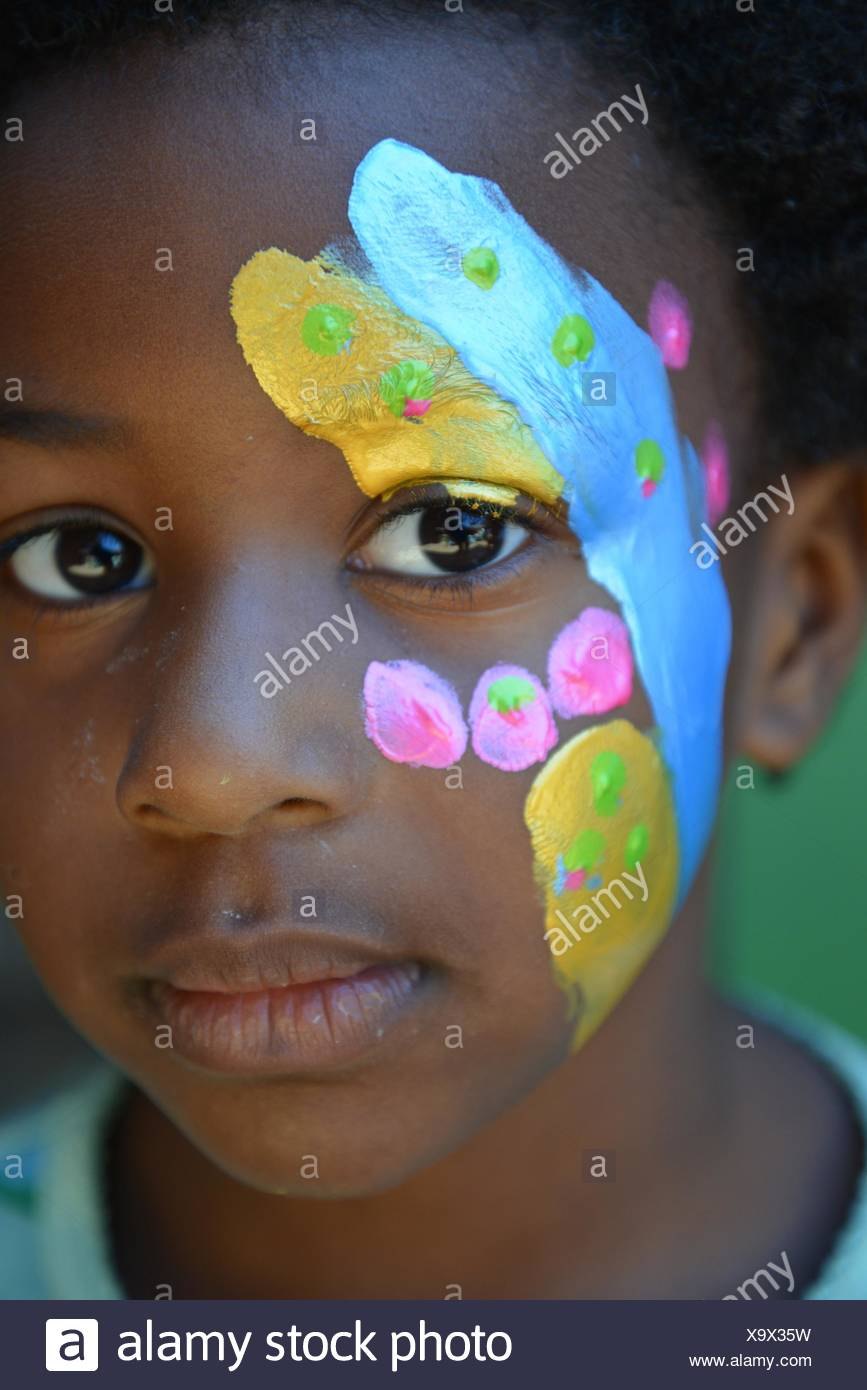 Portrait of a girl with face paint - Stock Image