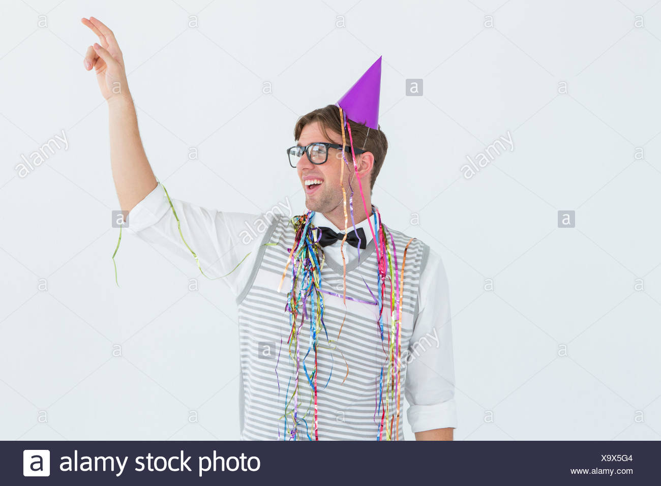 Geeky hipster pointing something - Stock Image