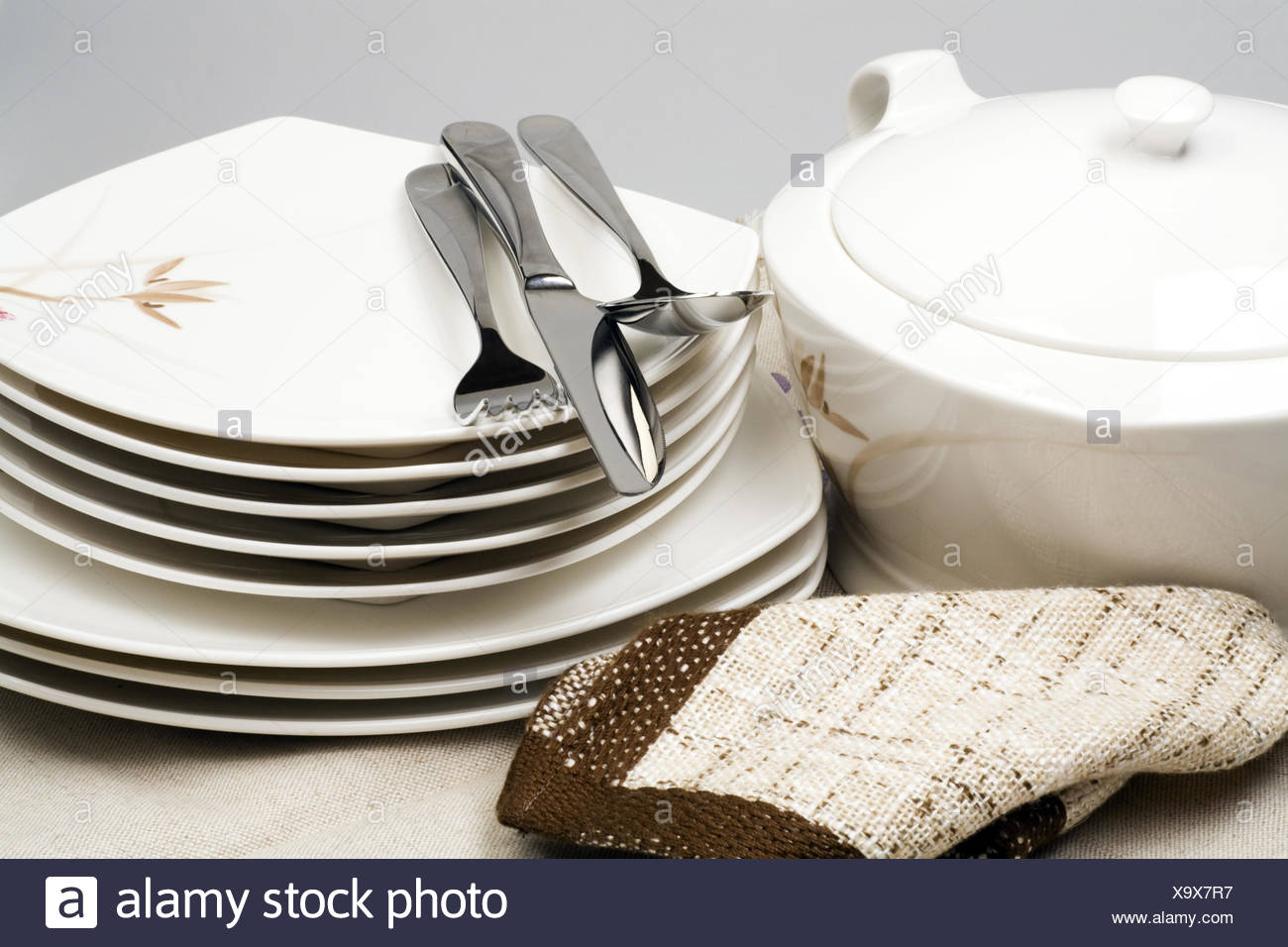 Pure ware and napkins in home cuisine - Stock Image