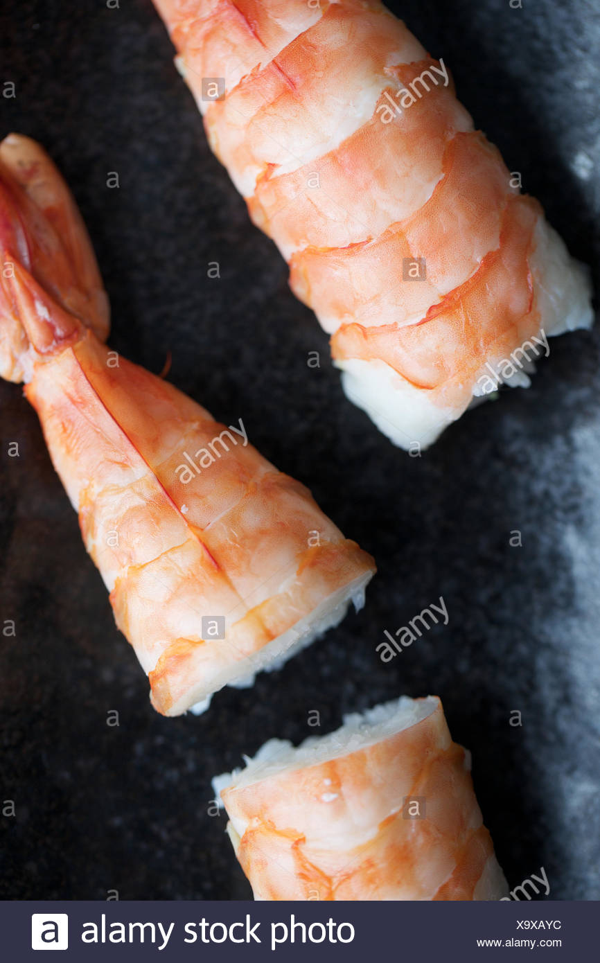 Piece Of Shrimp Sushi With Rice Seafood Raw Fish Fresh Healthy