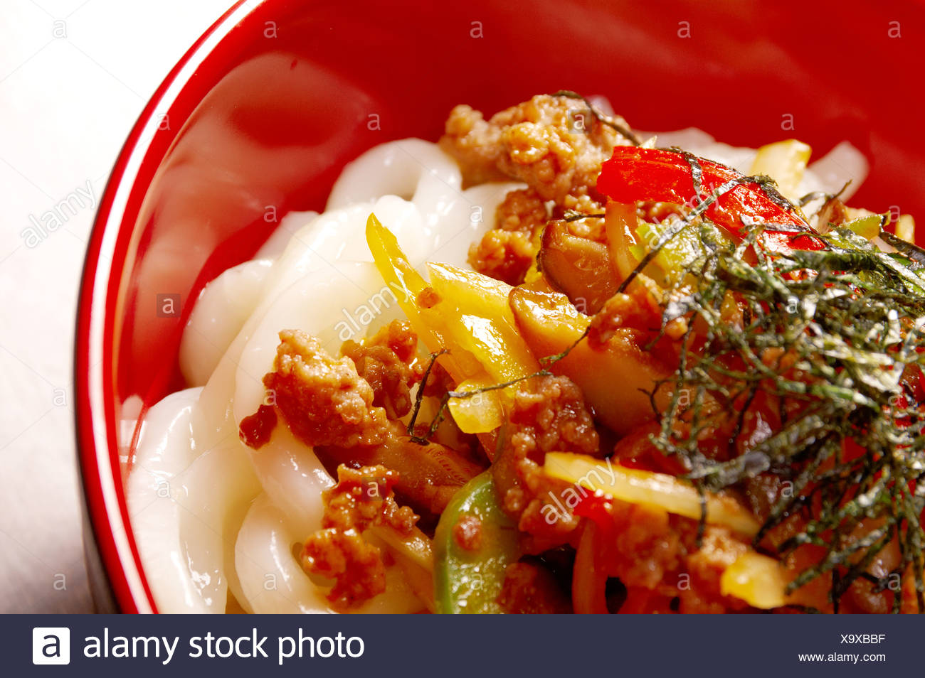 udon noodles with beef tendon stew Stock Photo