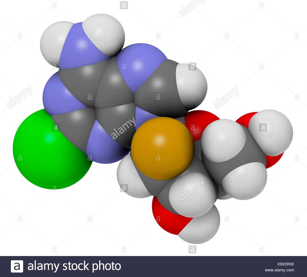 Clofarabine cancer drug molecule (purine nucleoside antimetabolite). Atoms are represented as spheres with c venti al colour - Stock Image