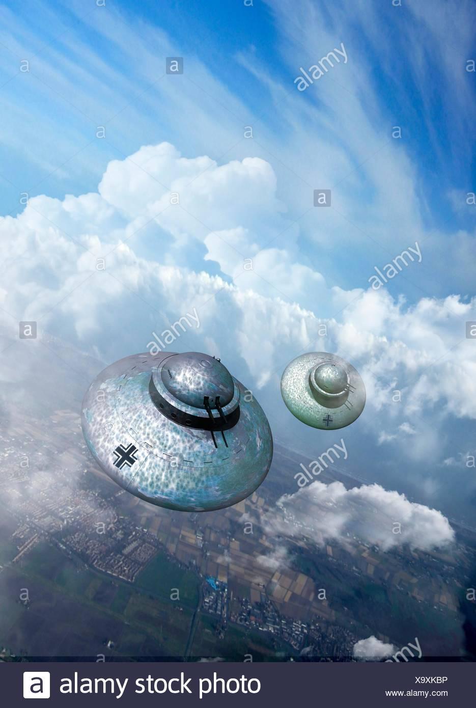 UFOs, computer illustration. - Stock Image