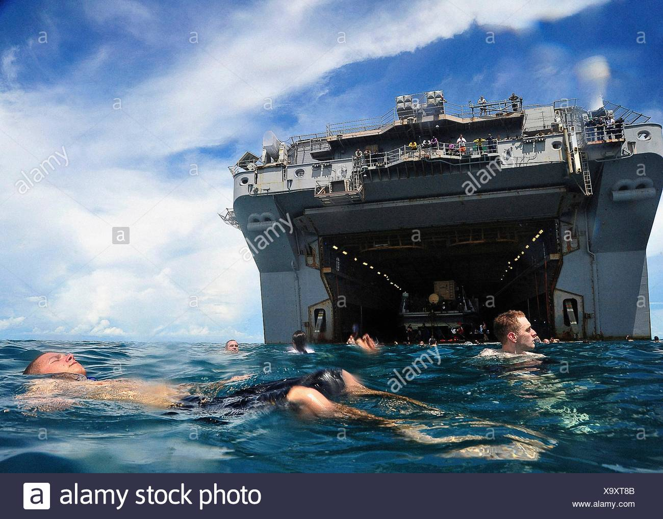CARIBBEAN SEA Sept  22, 2010 Service members embarked aboard the multipurpose amphibious assault ship USS Iwo Jima LHD 7 - Stock Image