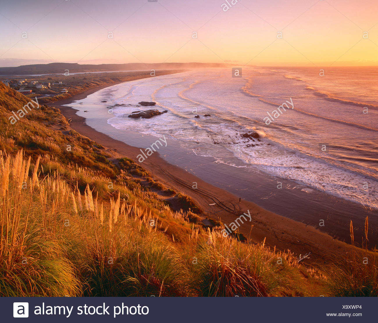 New Zealand. North Island, Port Waikato coast at sunset. - Stock Image