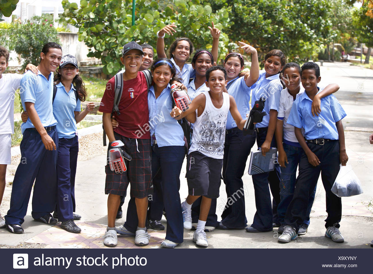 happy school children, Venezuela, Isla Margarita, Porlamar - Stock Image
