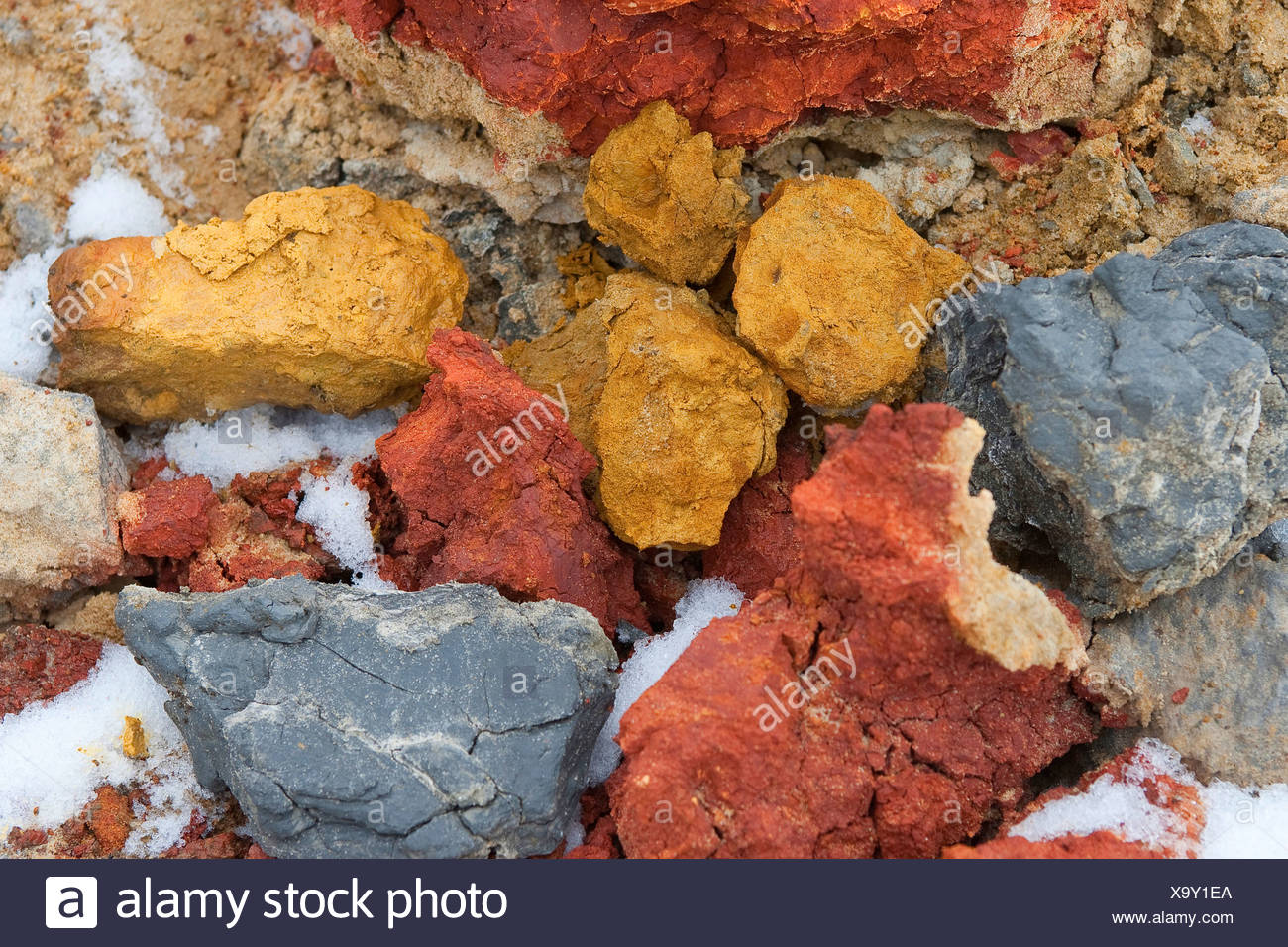 pieces of soil of different colours - Stock Image