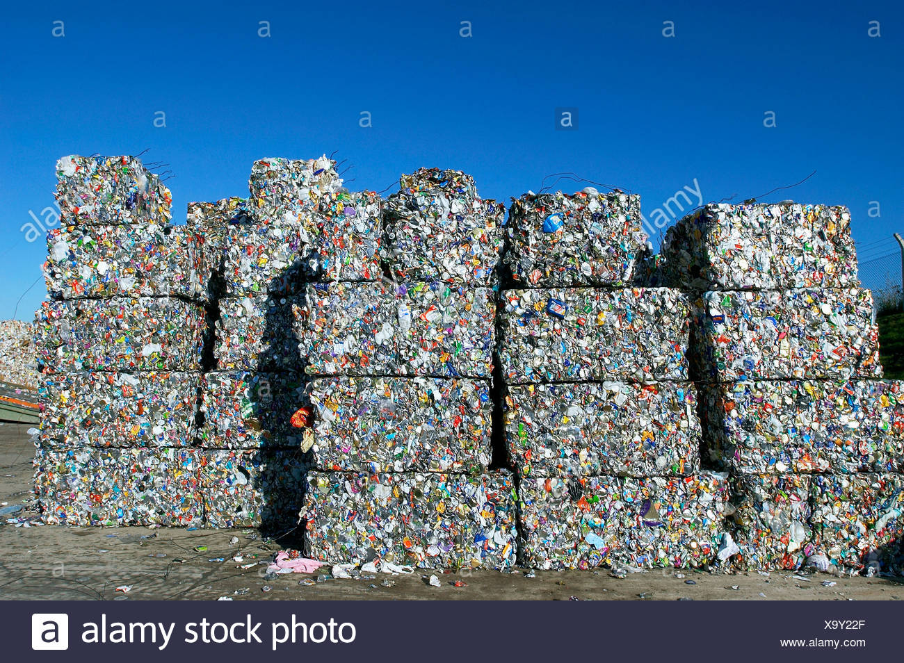 Recycling bail ready to be processed - Stock Image