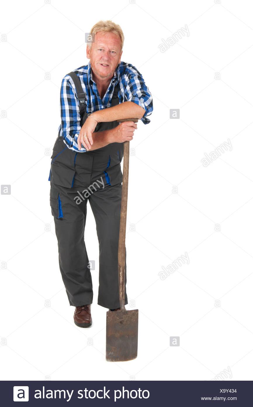 senior gardener - Stock Image