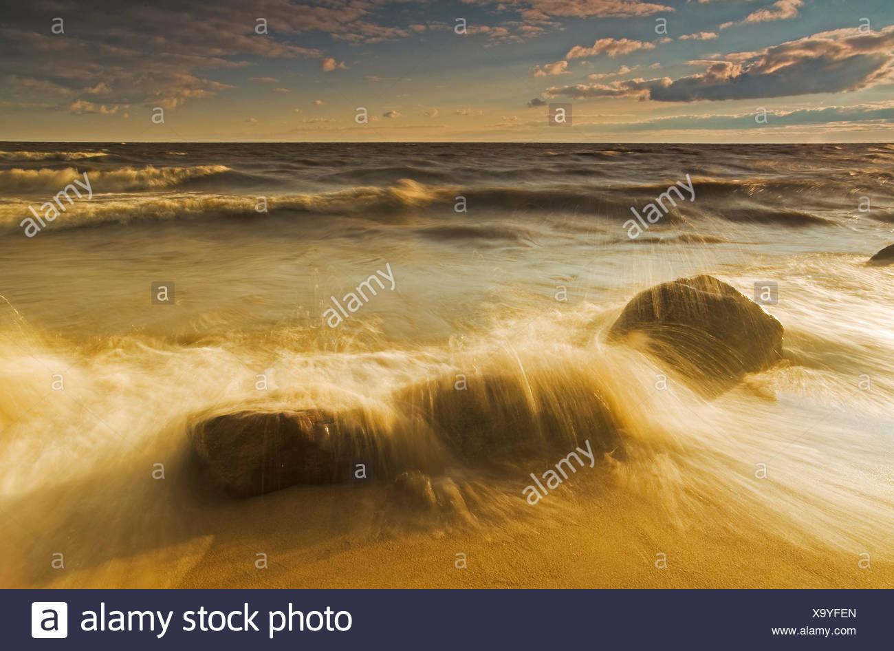 surf during a windy evening, Hillside Beach, Lake Winnipeg, Manitoba, Canada - Stock Image